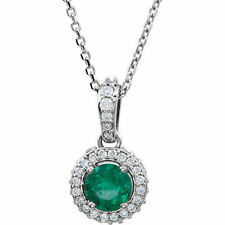 EMERALD & 1 / 4ctw Diamante Entourage 45.7cm Collar en 14k ORO BLANCO