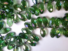 Vtg 25 GREEN IRIS FACETED GLASS DROP BEADS 20X10mm (approx) #011219m