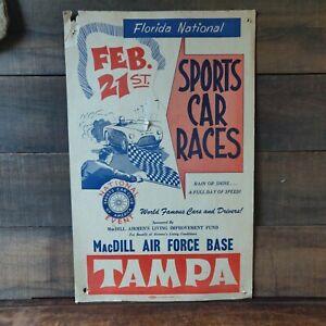 Florida National Sports Car Races MacDill Air Force Base Tampa Original Antique