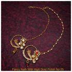 Indian Bollywood Style jewelry Kundan Polki Ruby rajasthani bridal nose ring
