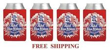 PABST BLUE RIBBON 4 PBR 12oz BEER CAN WRAP COOLERS KOOZIE COOLIE HUGGIE NEW