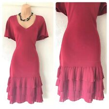 Karen Millen Short Sleeve Raspberry Red Pleated Knit Stretchy Dress Size 14