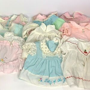 Lot of 9 Vintage Infant Baby Doll Dresses 3-6m Floral Lace Buttons Embroidered