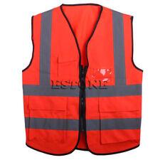 Hi-Vis Safety Vest With Zipper Reflective Jacket Security Waistcoat 5 Pockets