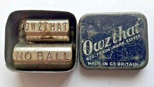 VINTAGE CRICKET DICE GAME OWZTHAT BLUE WHITE ENAMELLED TIN 1930 FREEPOST