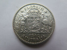 AUSTRALIAN 1940 SILVER 2 SHILLINGS - FLORIN King George VI EXCELLENT CONDITION