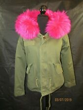 MOOMOOKONG Womans Pink Faux Fur Hooded Olive Parka Jacket  Size M - EUC