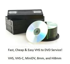 Fast Video Tape Transfer Service to DVD! VHS, VHS-C, MINIDV, 8mm, and Hi8mm