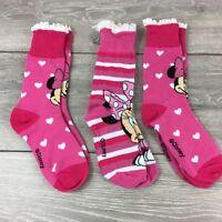 Official Disney Minnie Junior Girl Crew Socks 3 Pair UK C13 - 3.5  T261-2