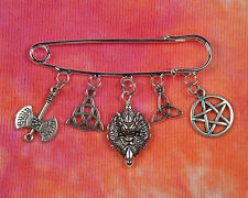 Pagan Wiccan Celtic Kilt Pin Brooch with 5 Silver Charms, Gift Boxed, Free Ship