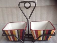PAMPERED CHEF SIMPLE ADDITIONS STRIPED MULTI COLOR 2 SQ BOWLS + STEEL CADDY