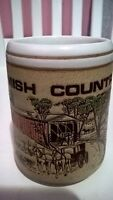 Amish Pottery Country Horse Buggy Covered Bridge Scene Coffee Mug Cup