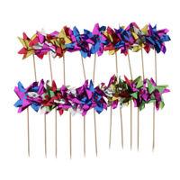 50pcs Multicolor Foil Windmill Fruit Sticks Cocktail Picks Party Table Decor