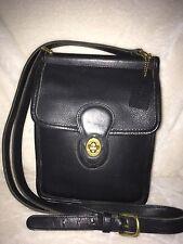 Coach 9930 Black Leather Shoulder Bag Crossbody Purse Turn Lock Close