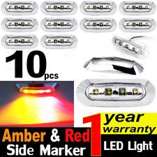10x 10v-30v Amber/Red 4 LED Side Marker Clearance Lights Car Truck Trailer Lamps