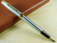 BAOER 388 SILVER AND GOLDEN MEDIUM NIB FOUNTAIN PEN ARROW CLIP