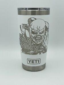 Yeti Rambler White 20oz cup tumbler engraved Iron Maiden Custom Artwork