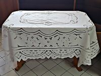 VINTAGE SOLID WHITE FLORAL ART CUT EMBROIDERY 100% COTTON TABLECLOTH