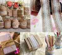5M Natural Jute Burlap Hessian Ribbon Lace Trims Tape Wedding Rustic Decor Craft
