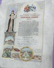 Rare alte Urkunde handgemalt F Sander Lahr im Breisgau Lotzbeck Tabak von 1899