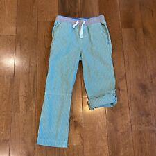 Boys Mini Boden Roll Up Pants Green White Stripes Sz 5Y
