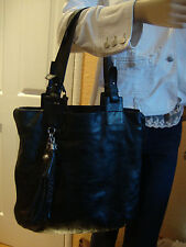 ESCADA SPORT BLACK LEATHER LARGE TOTE WOMEN'S BAG MADE IN ITALY