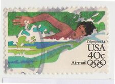 (UST-411) 1982 USA 40c swimming Olympics air mail (A)