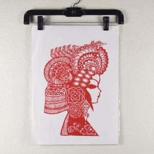 Chinese Folk Art Cut Paper Silhouette Red Ornate Headdress Lady Profile