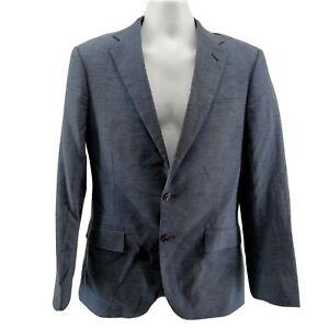 J.Crew Ludlow Blazer Suit Jacket Size 36 S Slim Fit Men's Blue Linen Cotton