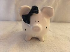 Piggy Bank with Black Bow and Polka Dots