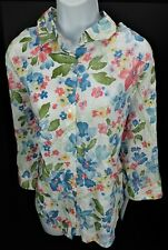 16 Alfred Dunner Tropical Vibe Floral Eyelet NWT Button Front Front 3/4 Sleeve
