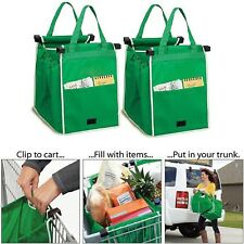 Reusable Folding Shopping Cart Bag Large Capacity Trolley Grocery Storage Clip