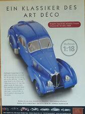 Cmc publicitaria... Bugatti Type 57 SC Atlantic, 1938, en 1-18...... anuncio del periódico