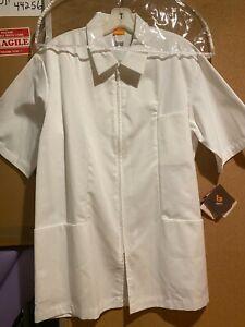 Barco Men's White Zipper Scrub Top #9339 Size 38