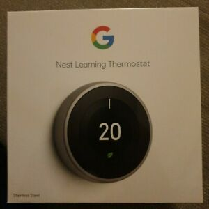 Google Nest Learning Thermostat 3rd Generation, Stainless Steel BNIB