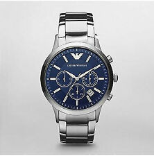Emporio Armani AR2448 Classic Stainless Steel Watch for Men - Navy Blue/Silver