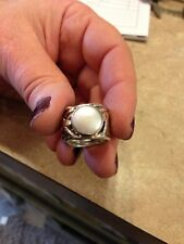 SILPADA STERLING SILVER MERMAID COIN PEARL RING Sz6 R1542