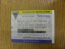 30/09/2011 Ticket: Rugby League - Super League Qualifying Semi-Final - Warringto