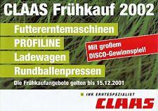 Claas Frühkauf 2002 Futtererntemaschinen Prospekt Broschüre Landmaschinen Europa