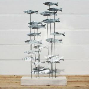 Tin School of Fish on Wooden Base | Coastal Decoration by Shoeless Joe