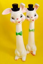Bunny Rabbit Vintage Anthropomorphic Salt and Pepper Shakers Napco Tall Tallboy