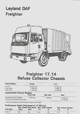 LEYLAND DAF FREIGHTER 17.14 REFUSE COLLECTOR CHASSIS LORRY TRUCK BROCHURE 1988