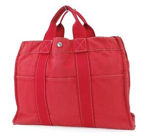Authentic HERMES Fourre Tout MM Red Canvas Tote Hand Bag #39962B