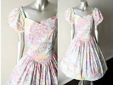 Princess Sweetheart Floral Vintage 80s Pastel Tea Swing Wedding Party Dress M