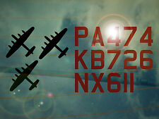 3 Lancasters Registration Decal/Sticker BBMF*WW2*Just Jane*Thumper*Vera*PA474