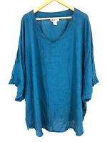 WE BE BOP Women's V Neck Blue Top Shirt Blouse Size 3X XXL (G4)