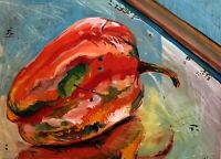 ABSTRACT EXPRESSIONIST RED PEPPER ON WINDOW SILL MODERNIST MIXED MEDIA PAINTING