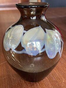 """Signed 1977 RFAG Rochester Folk Art Guild Hand Blown Studio Art Glass Vase 5.5"""""""