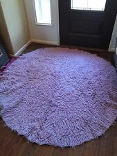 PBTeen 6' Round Lavender Wool Flokati Rug W/ Deluxe Rubber Backed Rug Pad