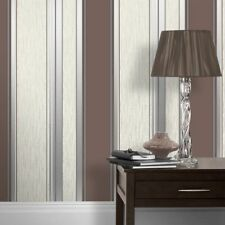 Chocolate Brown Beige Stripe Wallpaper Striped Glitter Effect Vinyl Textured